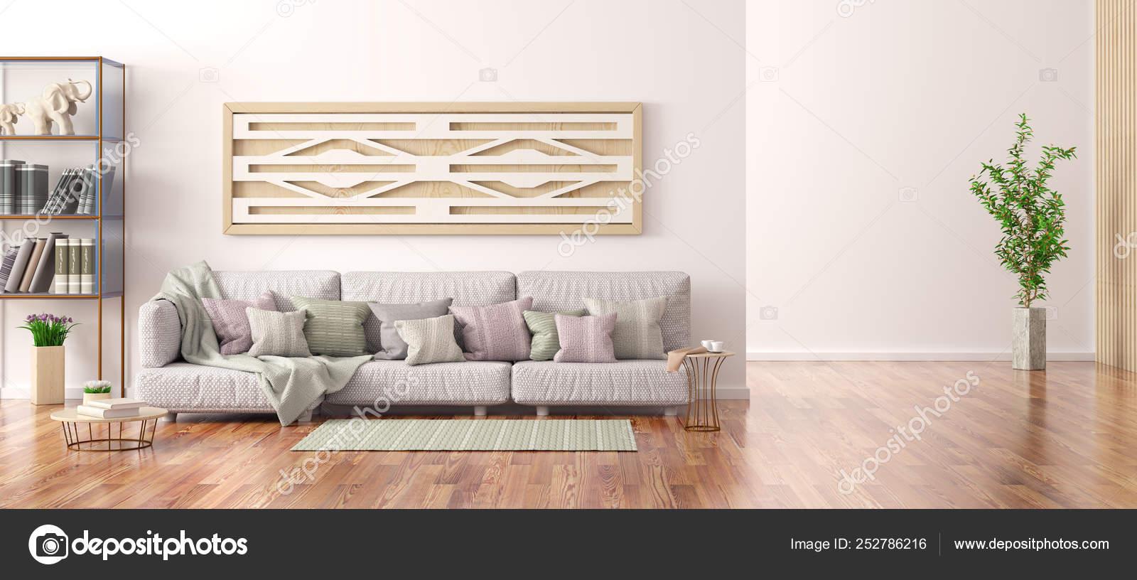 Interior design del soggiorno moderno con divano grigio ...