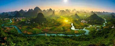 Panorama Landscape of Guilin, China. Li River and Karst mountain