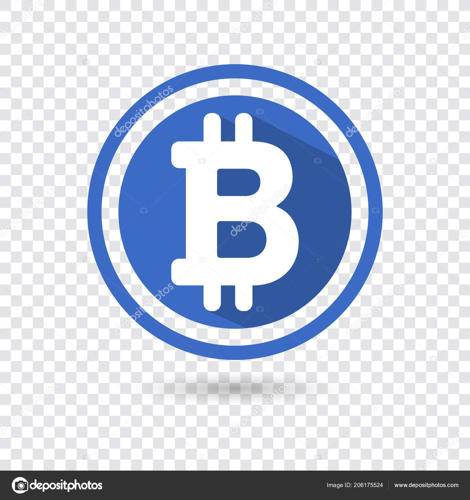 Bitcoin Symbol In Flat Design For Internet Money The Symbol Of