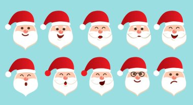 Set of different emotions character Santa Claus. Happy and sad face of Santa Claus with white beard. Isolated vector illustration in cartoon style icon