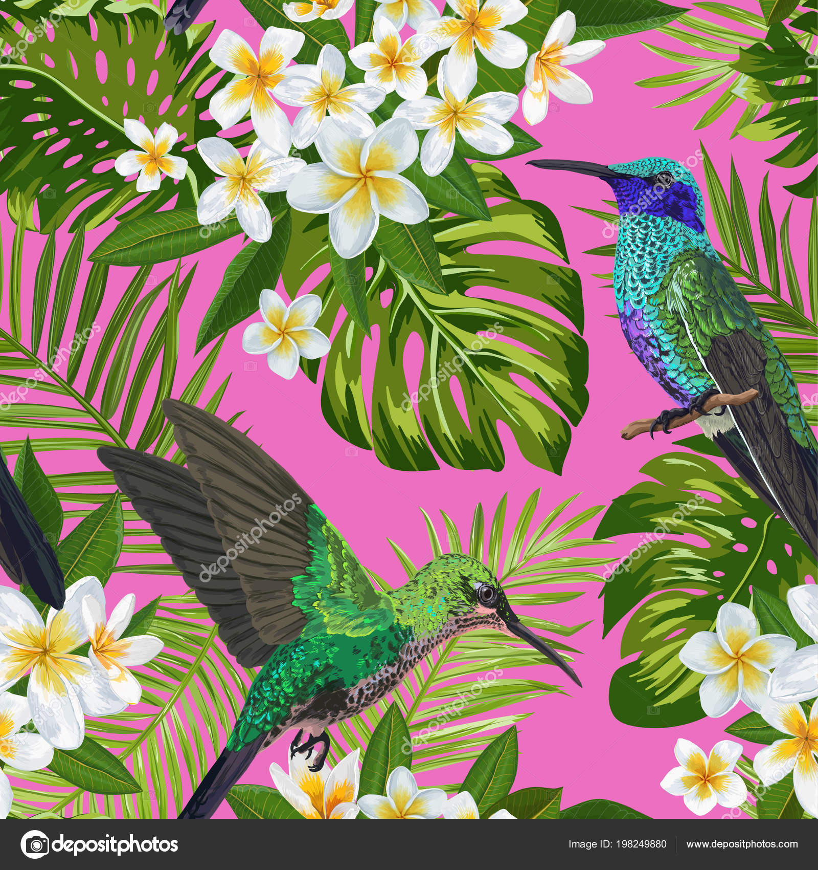 Floral Tropical Seamless Pattern With Exotic Flowers And Humming
