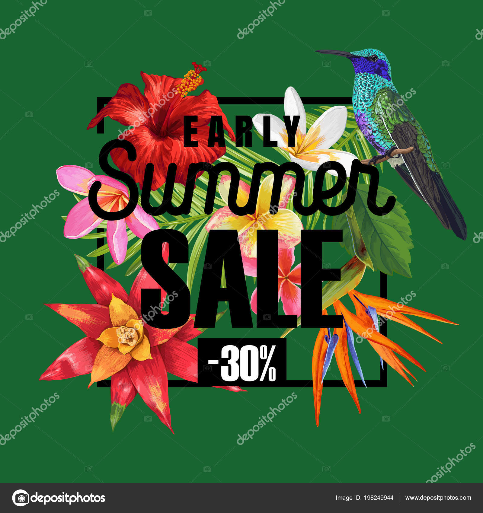 Summer sale banner with tropical hibiscus flowers and humming birds summer sale banner with tropical hibiscus flowers and humming birds floral template for promo izmirmasajfo