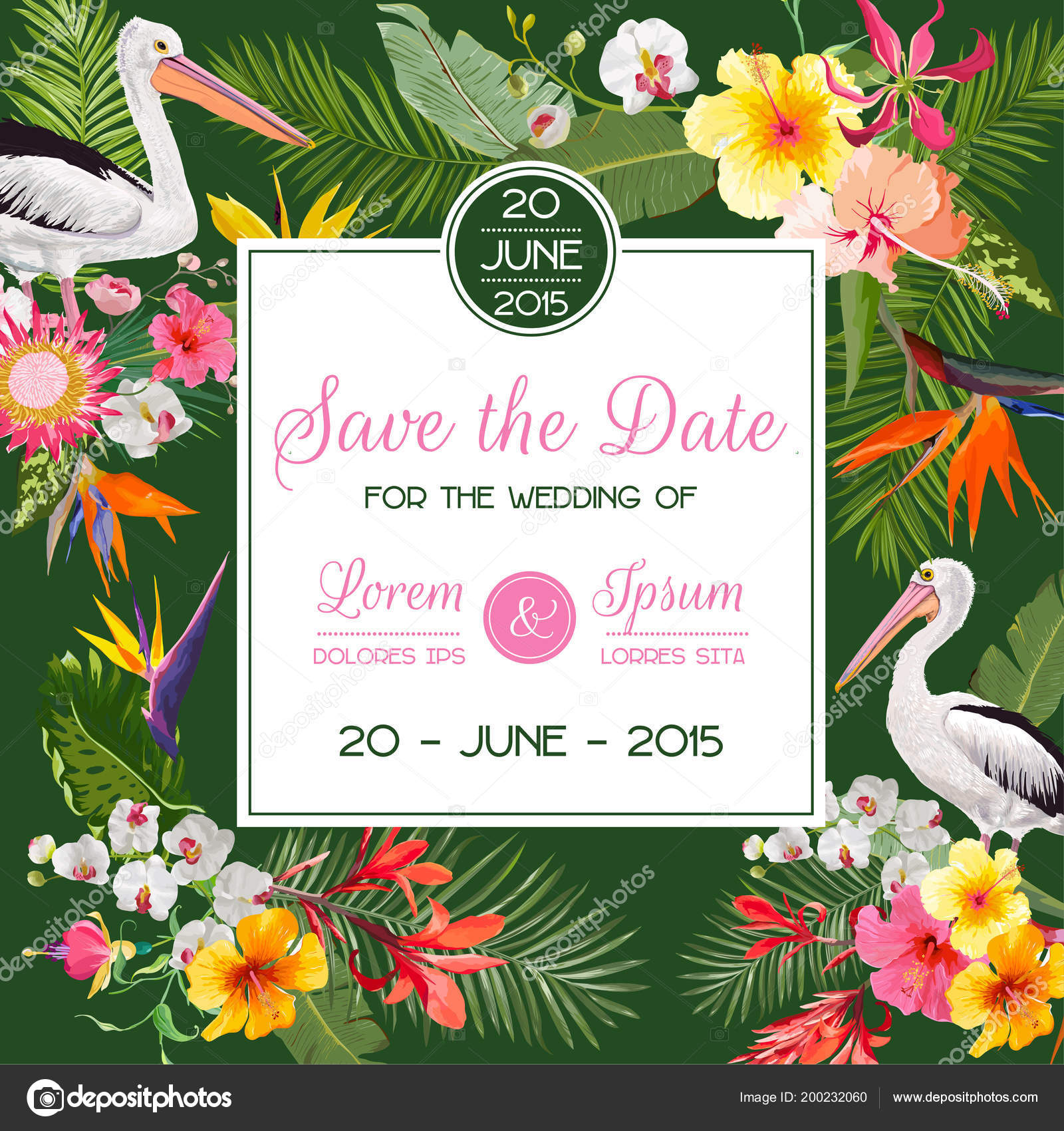 Save the date card with exotic flowers and birds floral wedding floral wedding invitation template with pelicans tropical postcard vector illustration vetor por woodhouse stopboris Choice Image