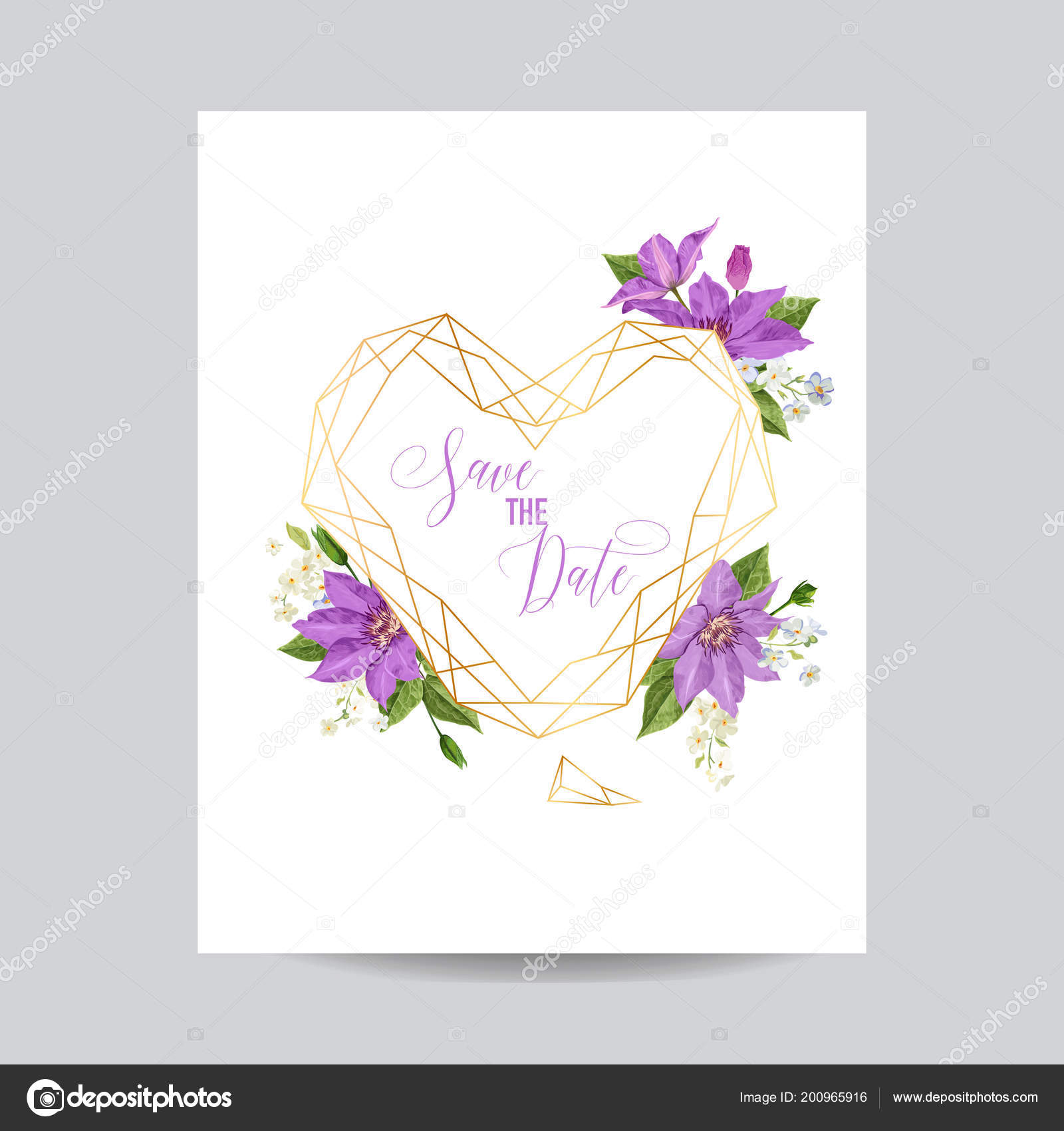 Wedding invitation template with clematis flowers and golden frame wedding invitation template with clematis flowers and golden frame tropical floral save the date card stopboris Image collections
