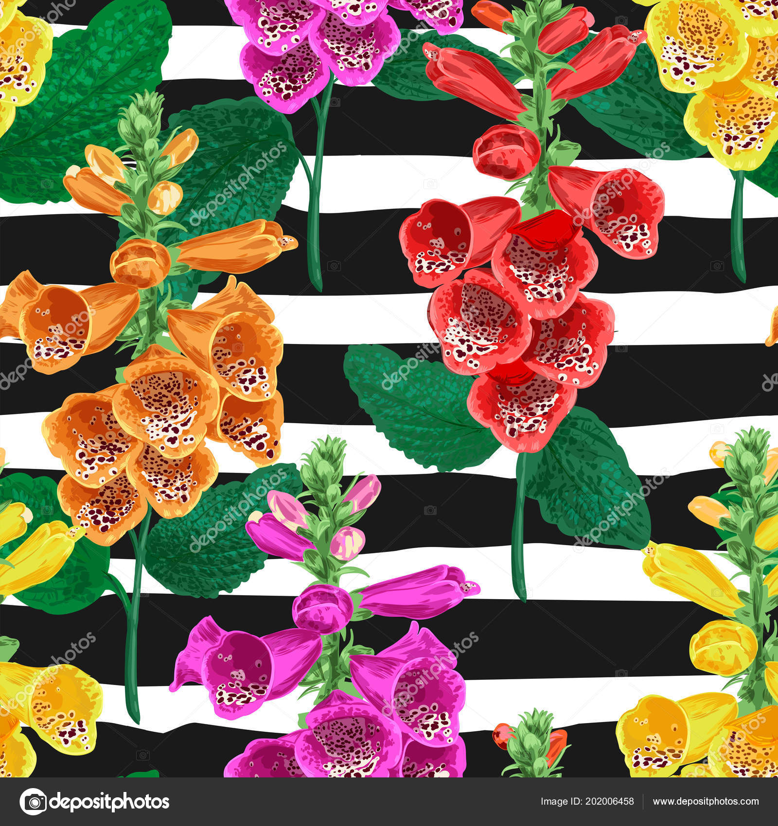Tropical Flowers Seamless Pattern Summer Floral Background With
