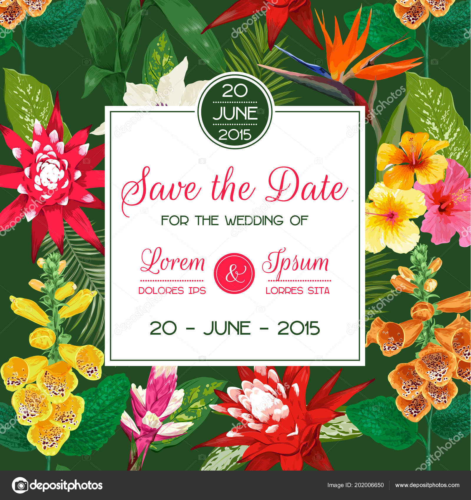 Wedding invitation template with tiger lily flowers and palm leaves wedding invitation template with tiger lily flowers and palm leaves tropical floral save the date izmirmasajfo