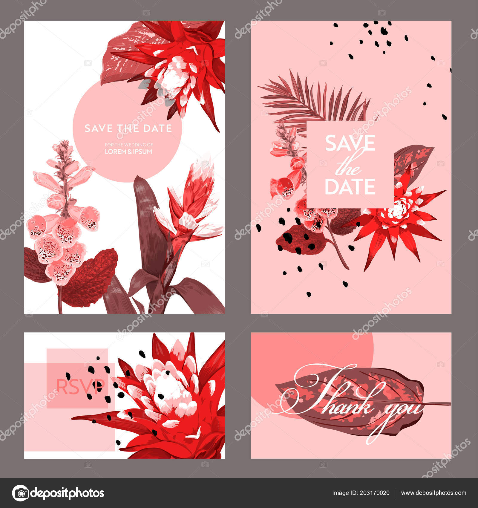 Wedding invitation template with flowers and palm leaves tropical wedding invitation template with flowers and palm leaves tropical floral save the date card exotic flower romantic design for greeting postcard birthday stopboris Images