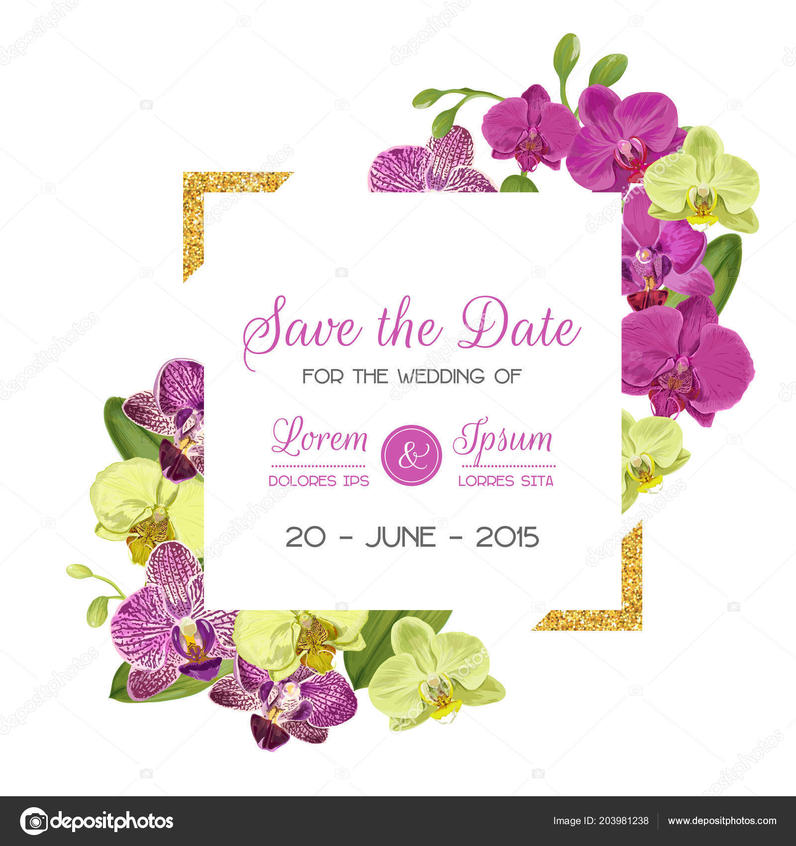 Wedding Invitation Layout Template With Orchid Flowers Save The Date Floral Card Golden Frame