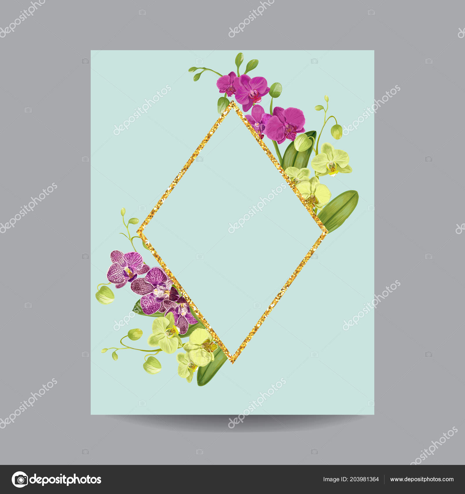 Blooming Spring And Summer Golden Floral Frame Watercolor Purple