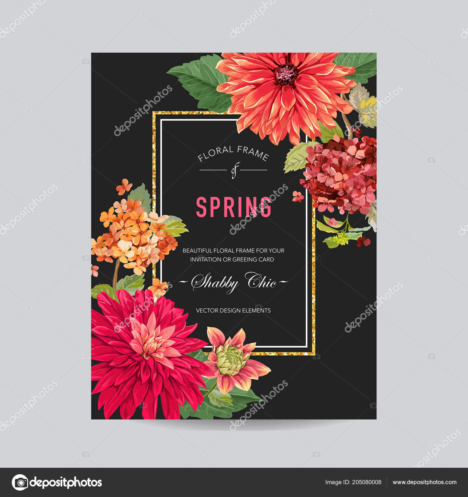 Wedding Invitation Layout Template with Red Asters Flowers. Save the ...