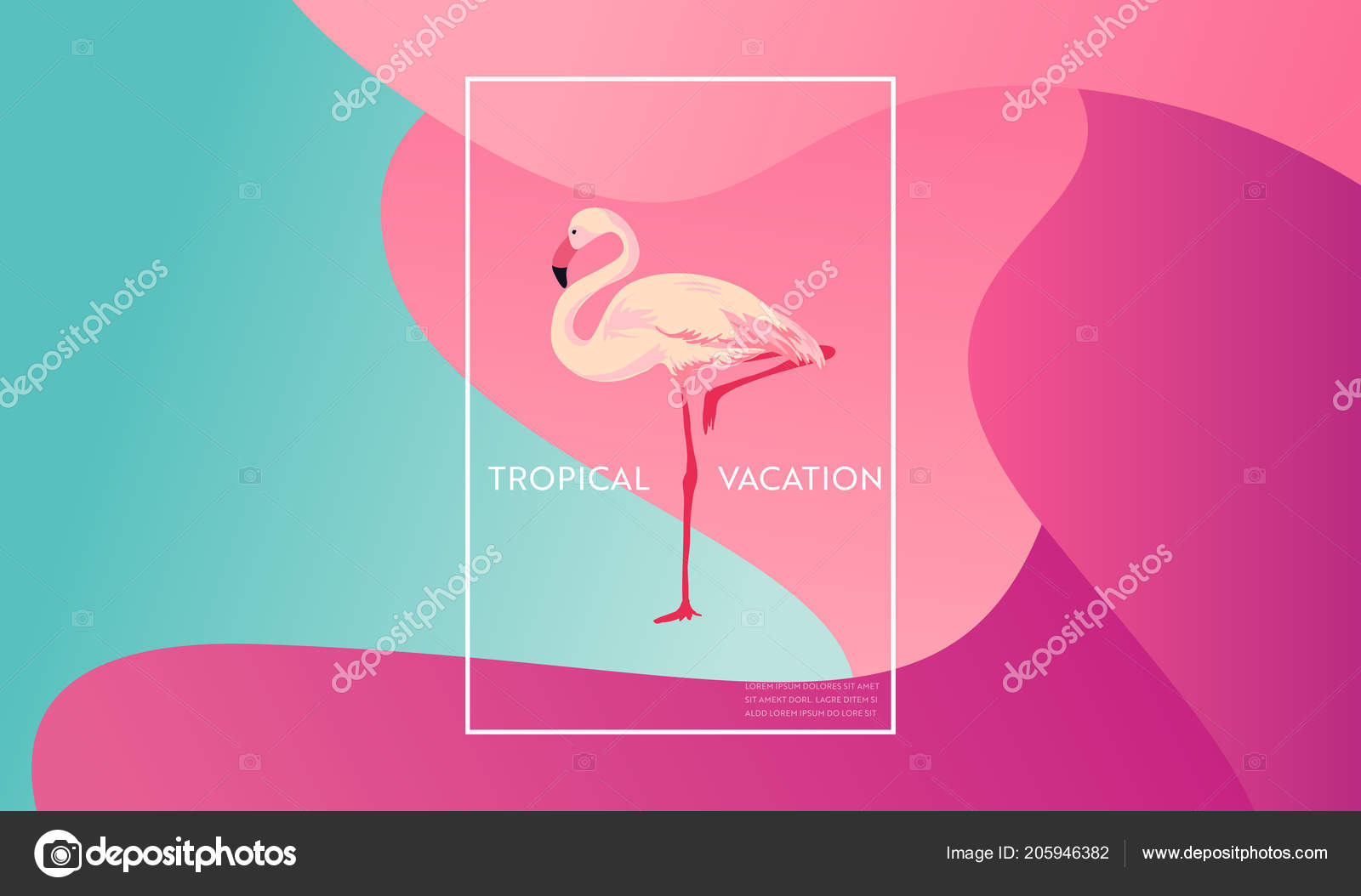Tropical Vacation Layout with Flamingo Bird for Web, Landing Page ...