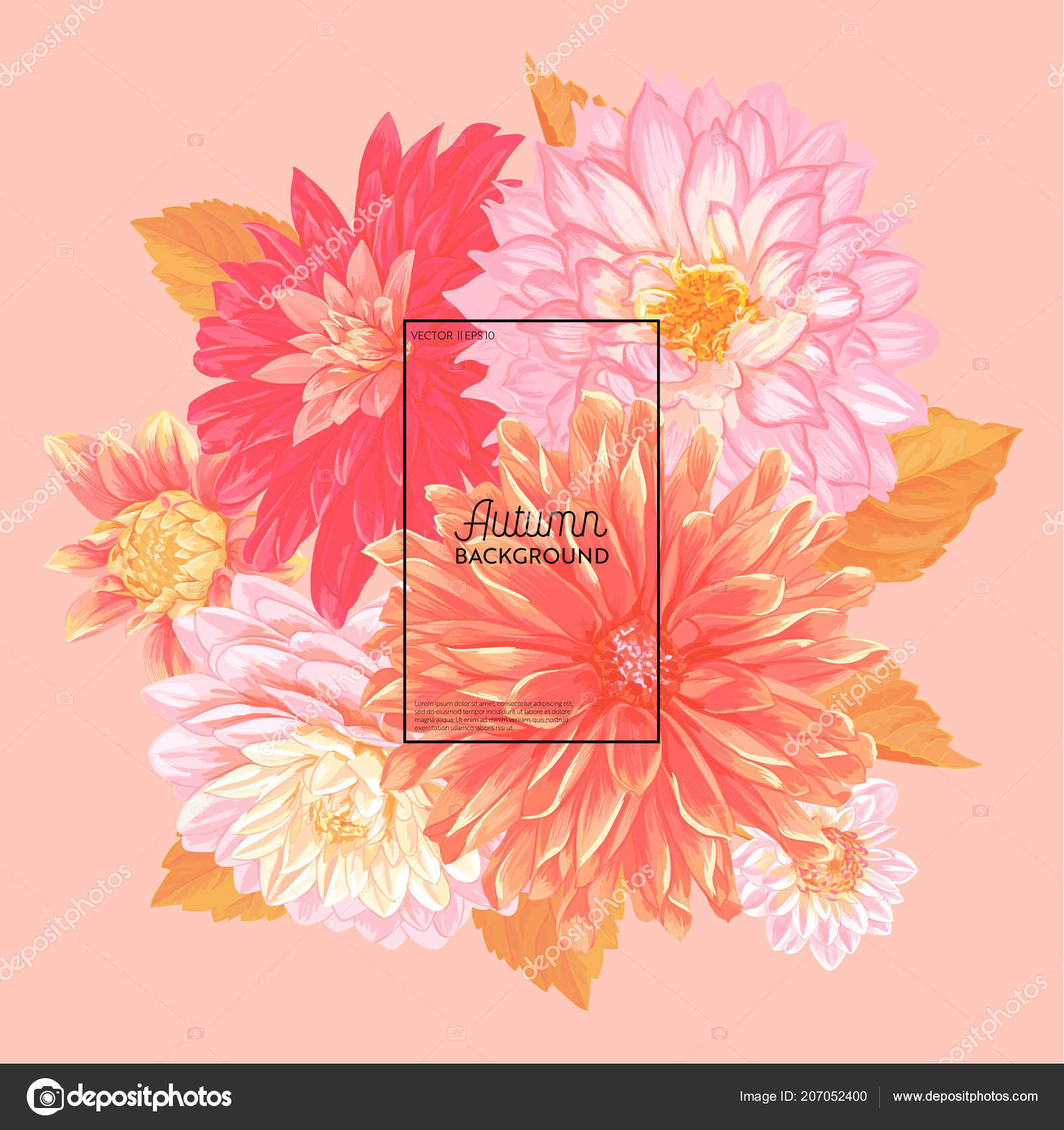 Hello Autumn Floral Design Seasonal Fall Floral Background For