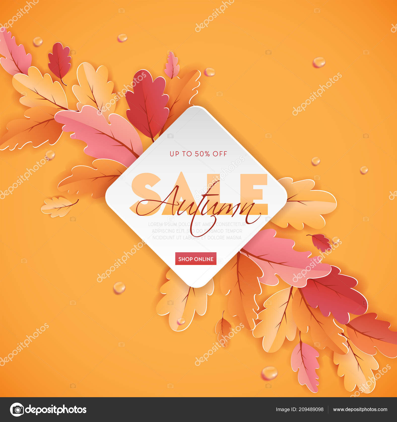 Autumn Sale Background Template with beautiful leaves Illustration