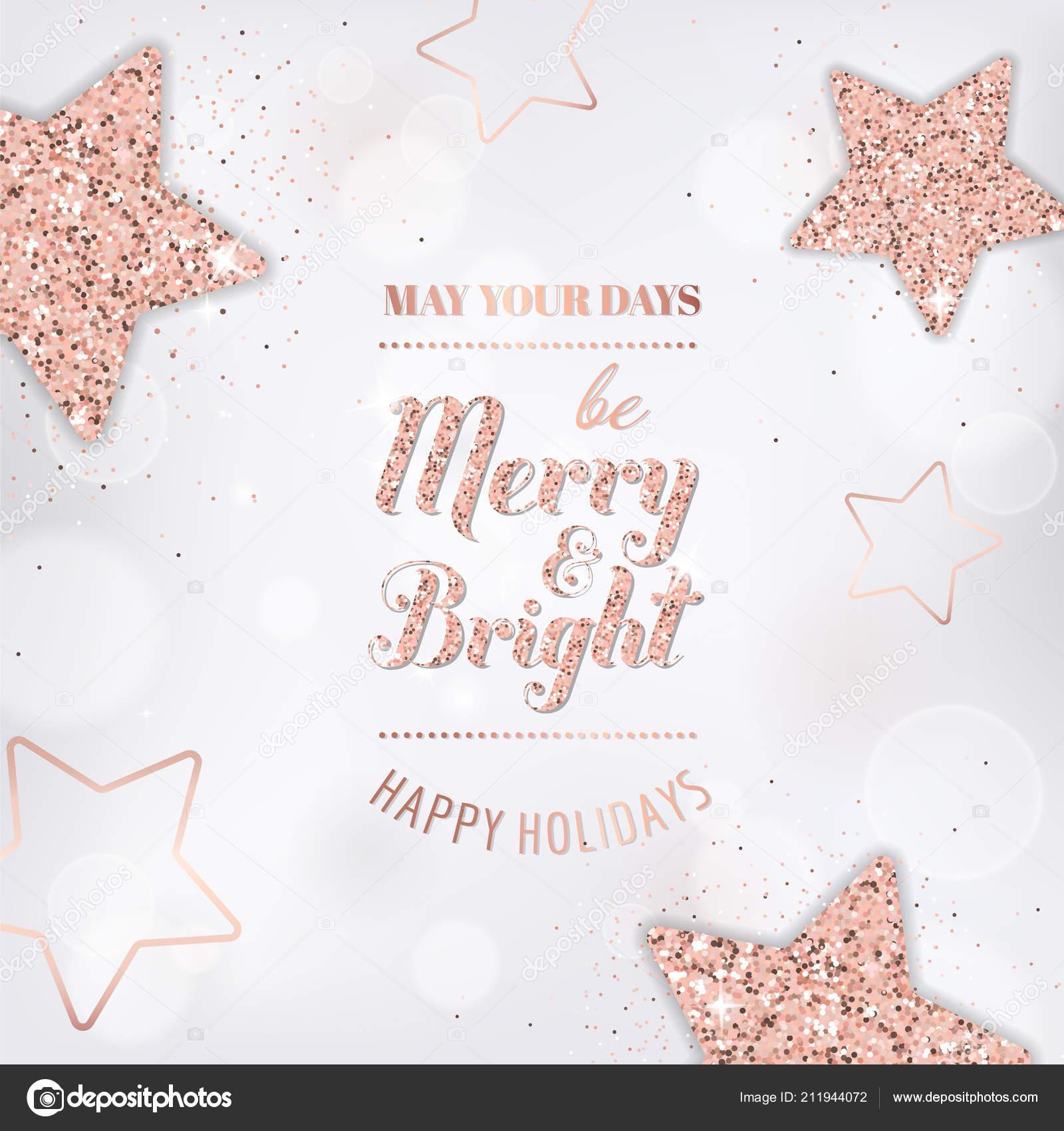 Elegant Merry Christmas Card Rose Gold Glitter Stars Invitation