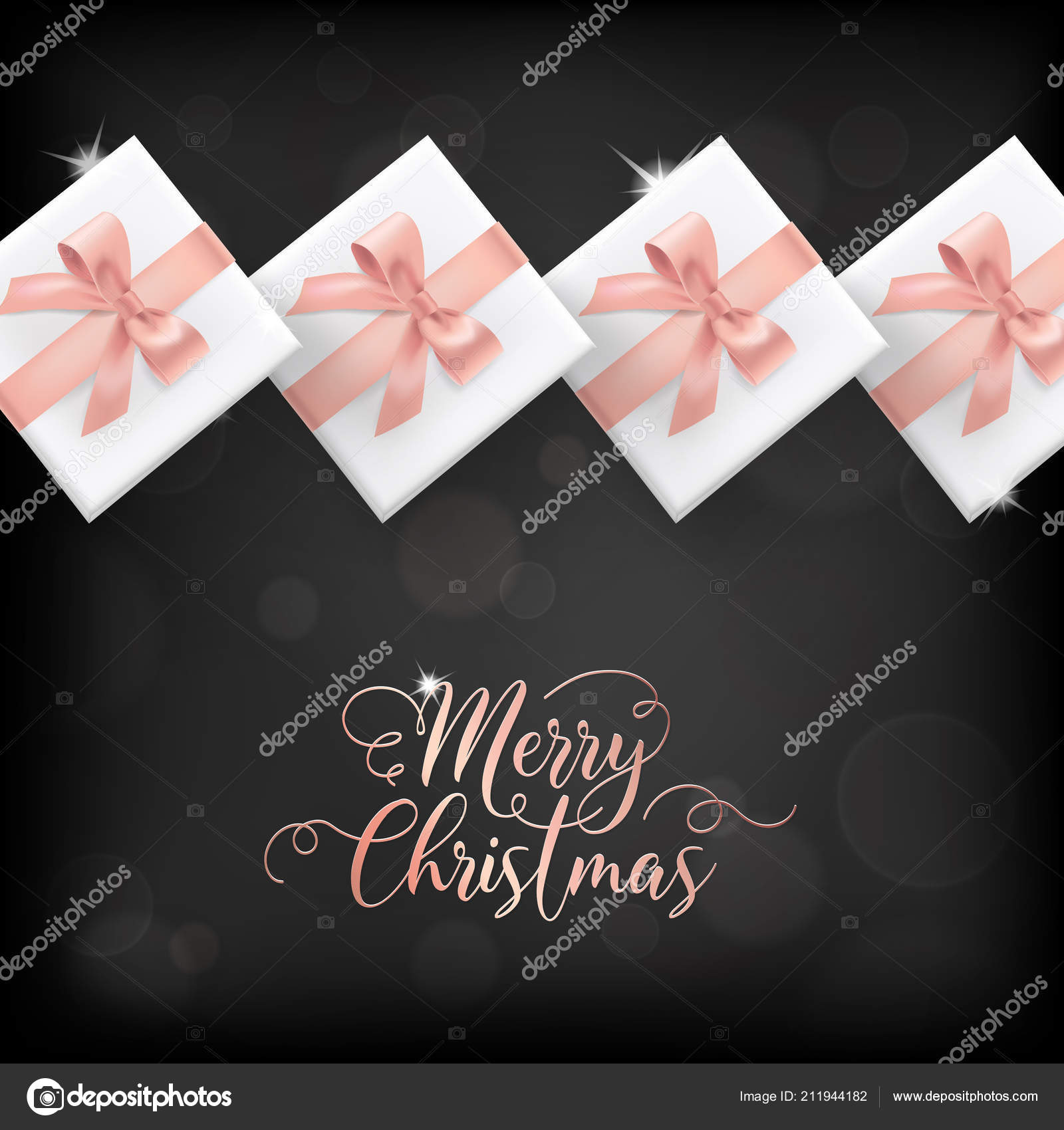 Elegant Merry Christmas Card With Rose Gold Christmas Presents And
