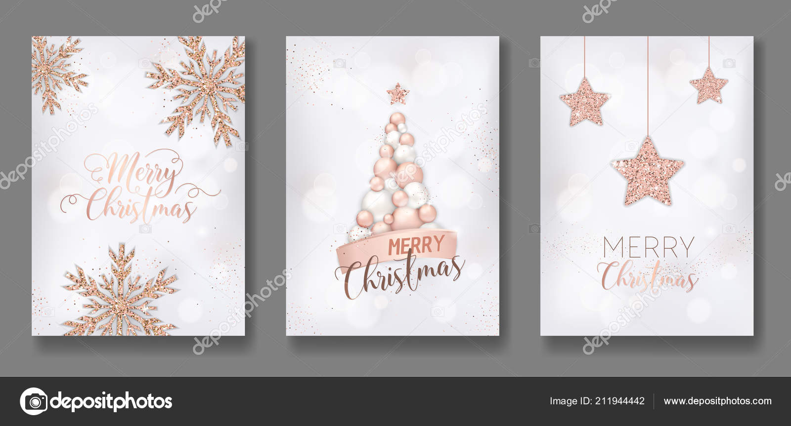 Glitter Christmas Cards.Vector Collection Of Merry Christmas Cards With Rose Gold