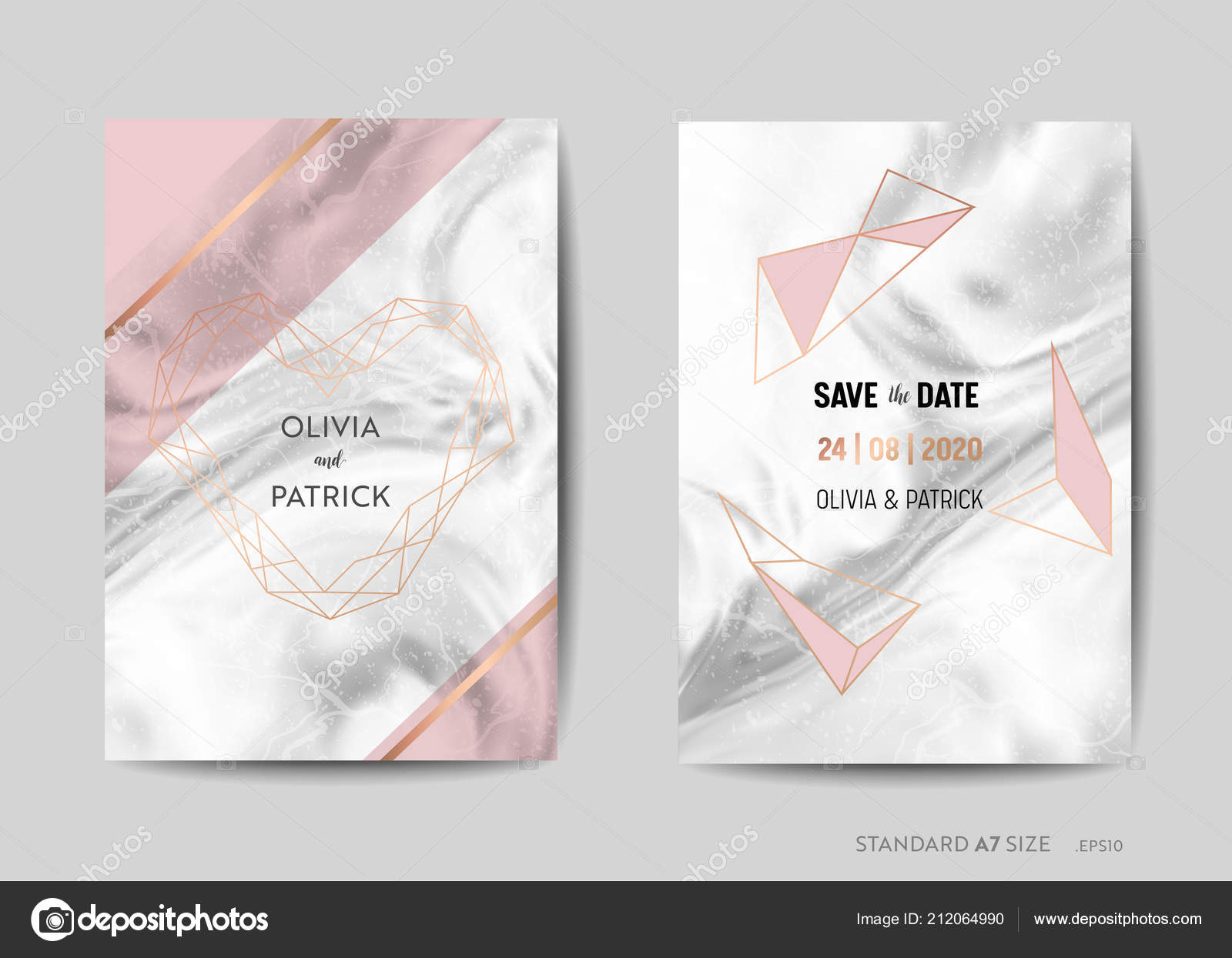 Wedding Invitation Cards Save The Date With Trendy Marble Texture