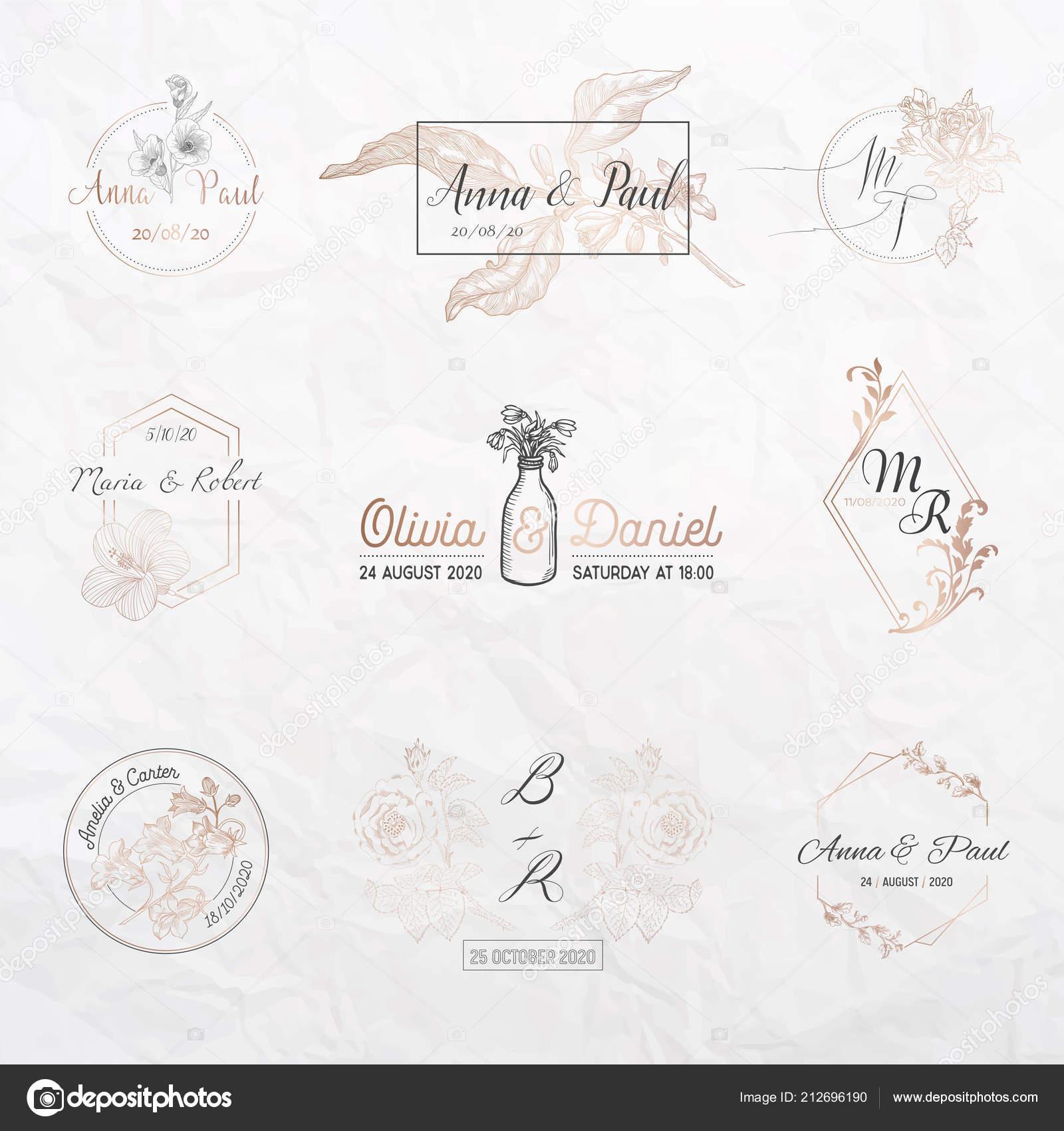 Colección Del Monograma De Boda Flores Plantillas Para