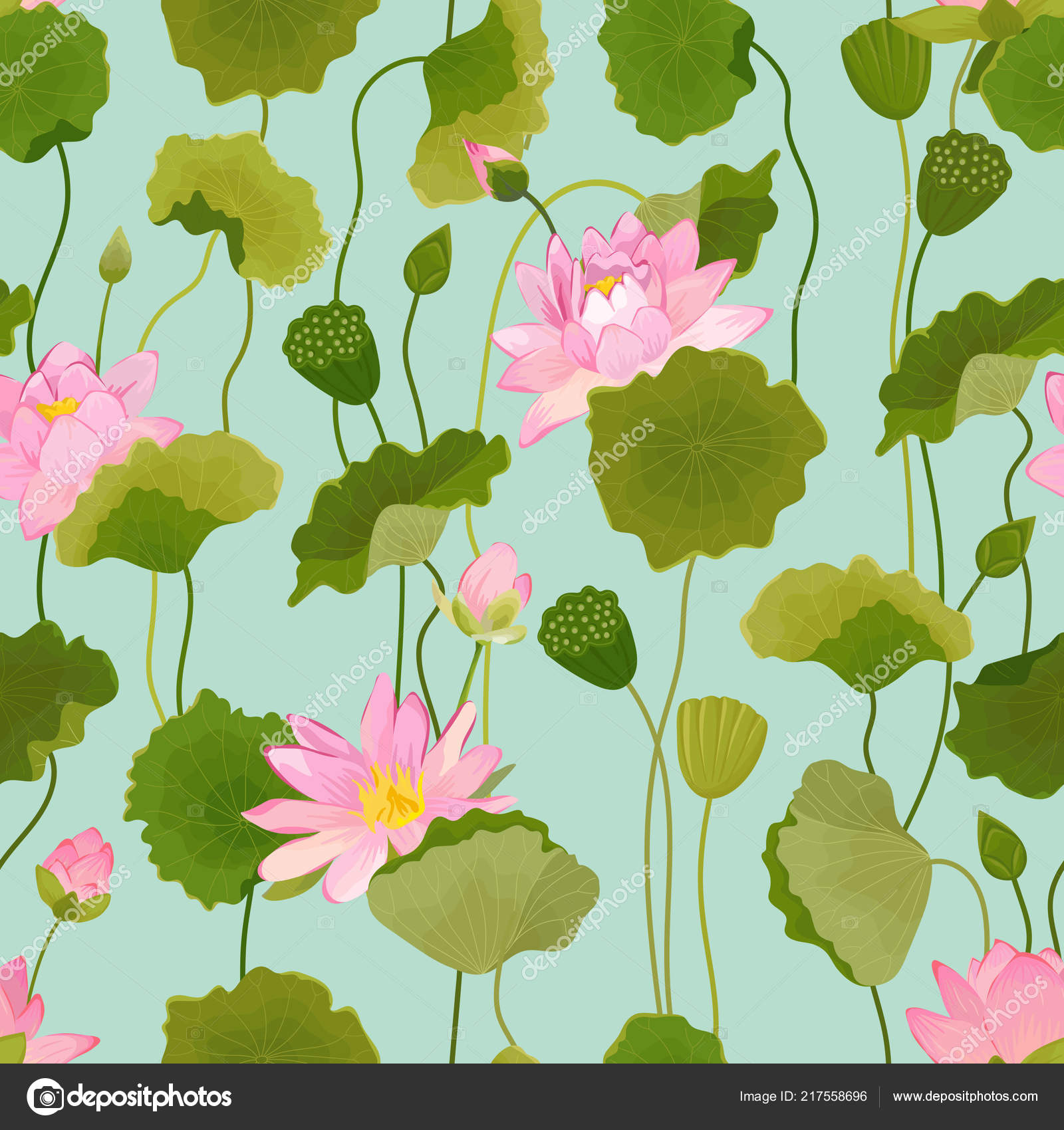Seamless Pattern With Lotus Flowers And Leaves Retro Floral