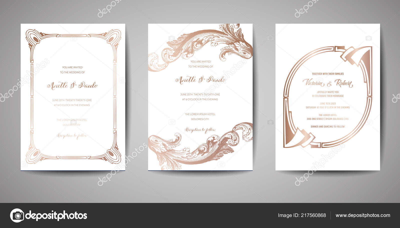 Set Of Luxury Vintage Wedding Save The Date Invitation Cards