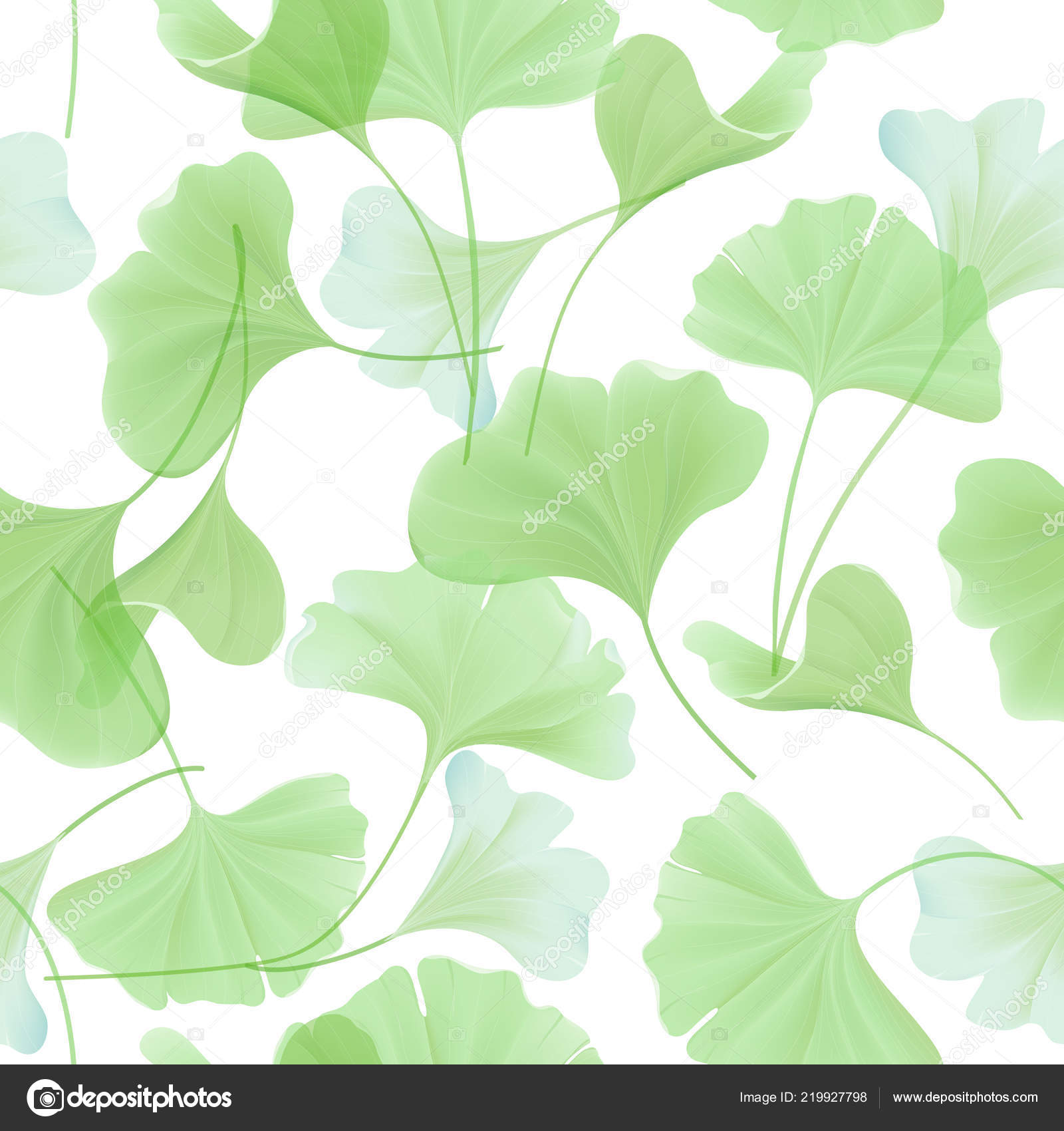 Floral Seamless Pattern With Japanese Gingko Biloba Leaves