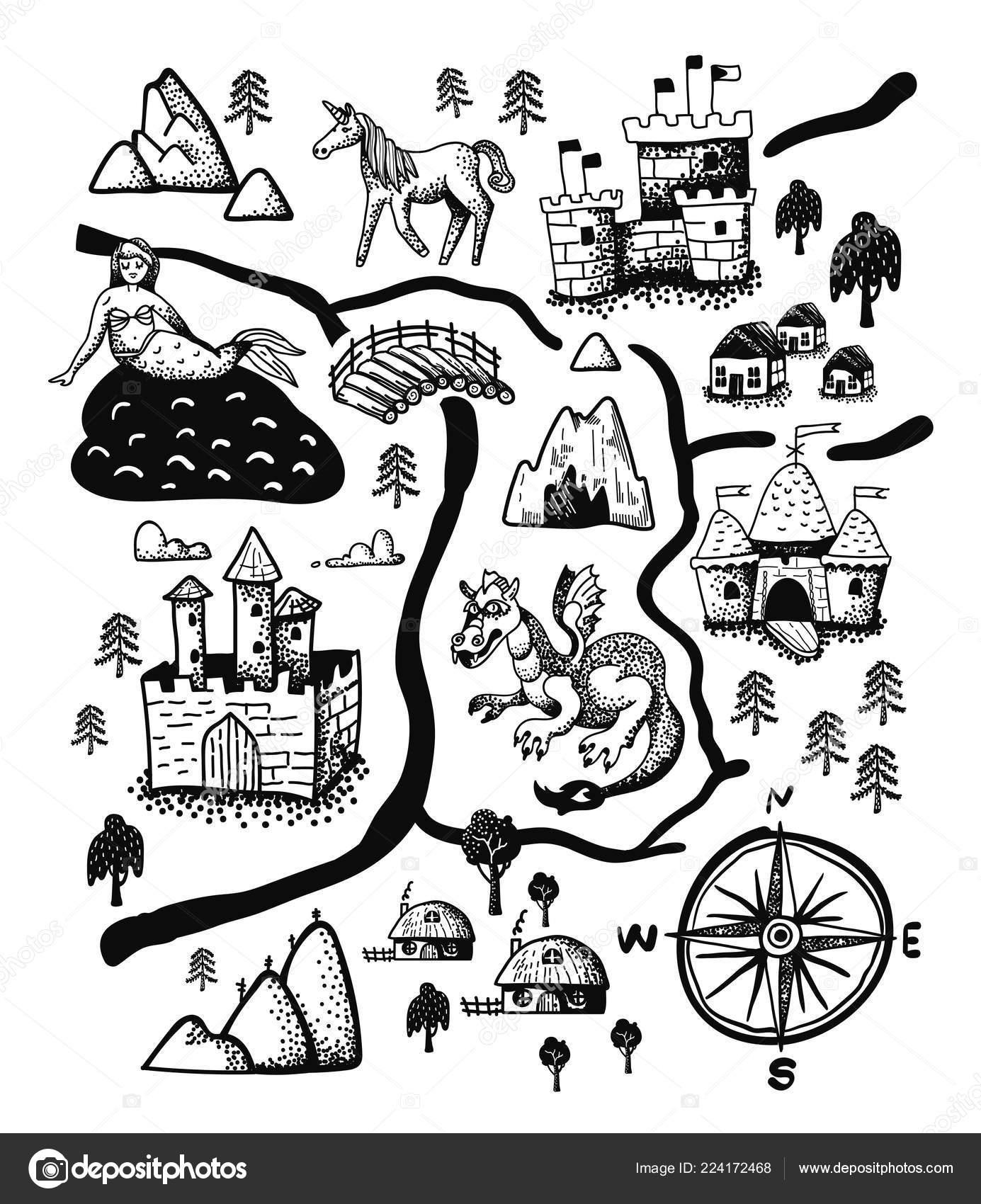 Fantasy Karte.Fantasy Landschaft Karte Mit Märchenschloss Drachen Einhorn