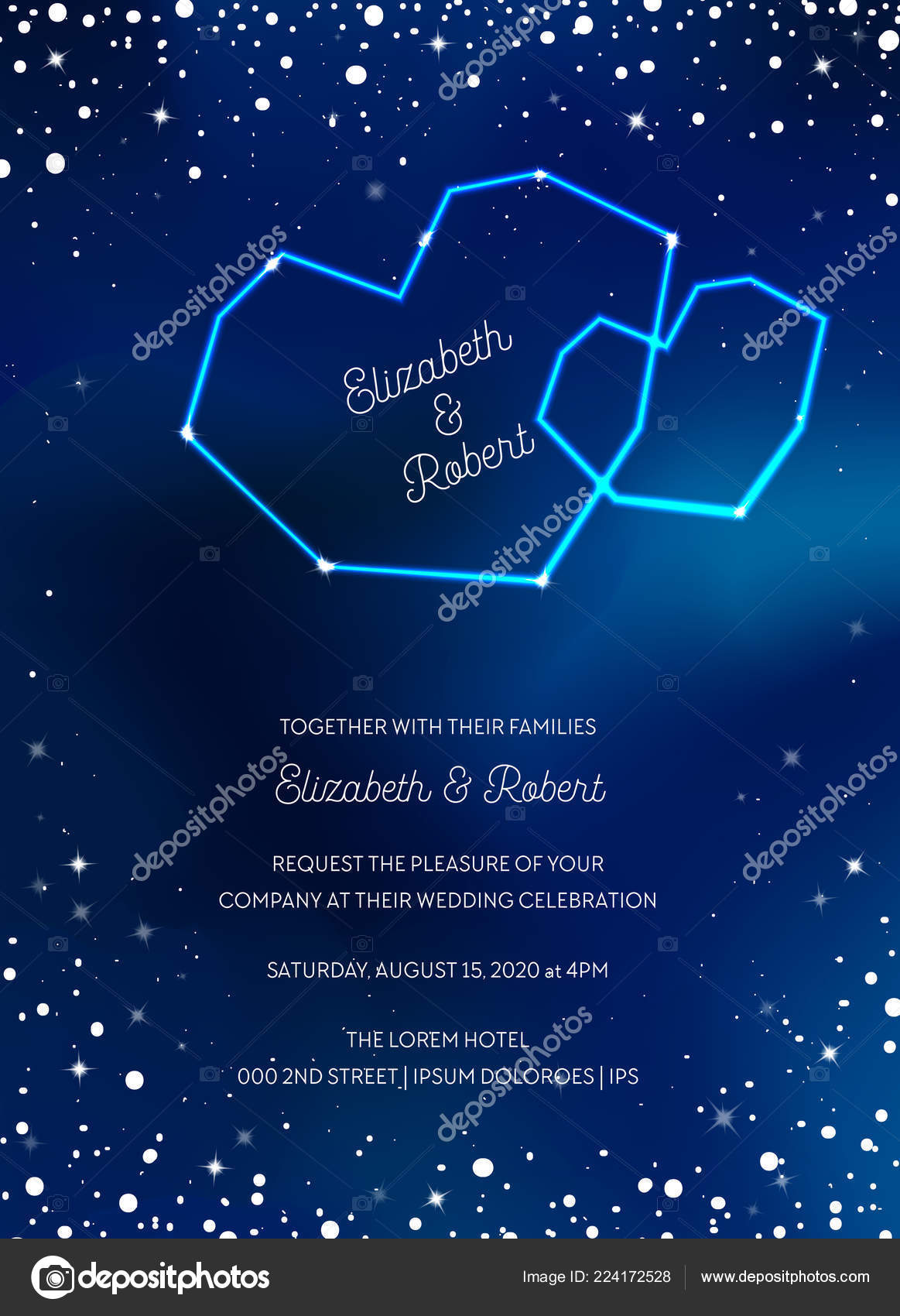 Night Sky Trendy Wedding Invitation Card Save The Date Celestial Template With Moon Stars: Blue Moon Wedding Invitations At Websimilar.org