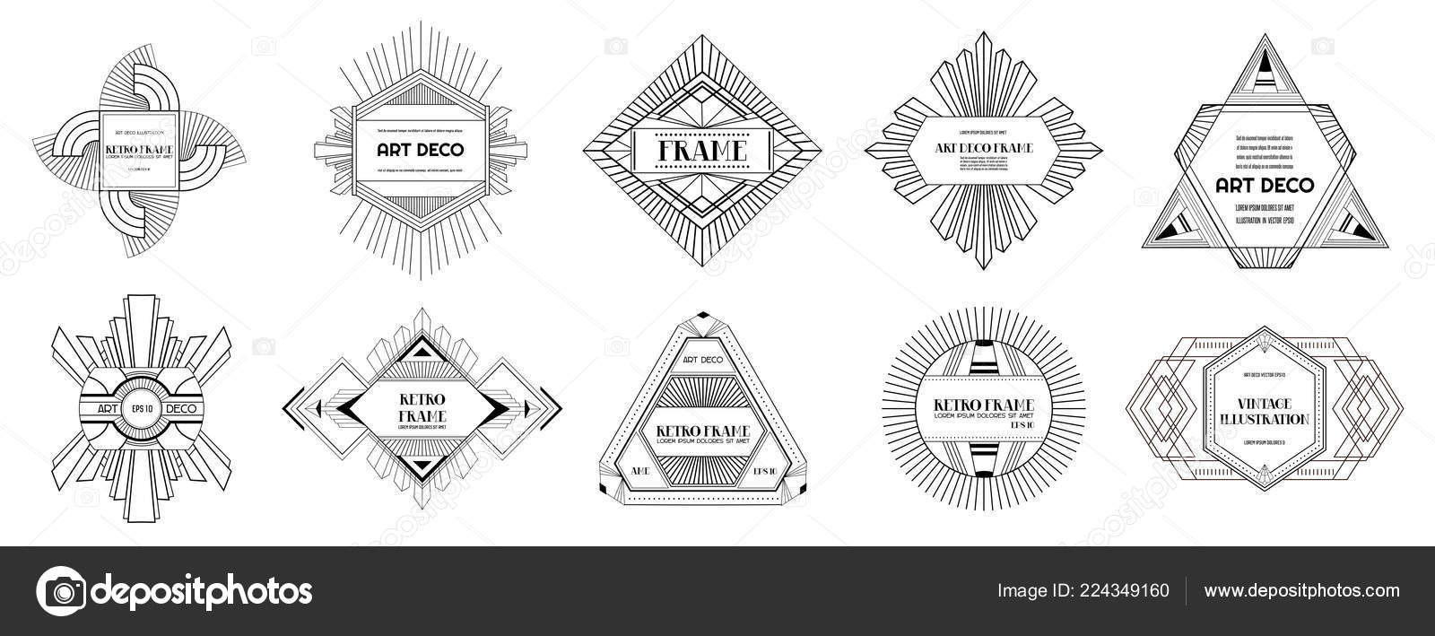 Art Deco Borders And Frames Wedding Card Banner Stock Vector