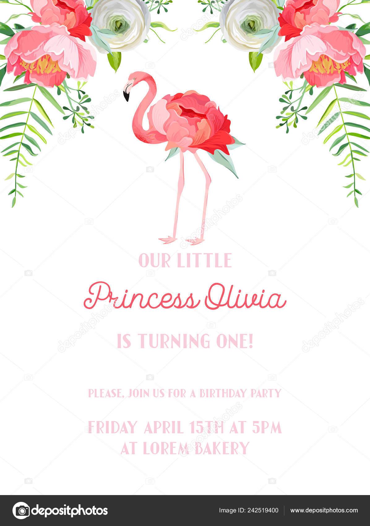 Baby Birthday Invitation Card With Illustration Of Beautiful