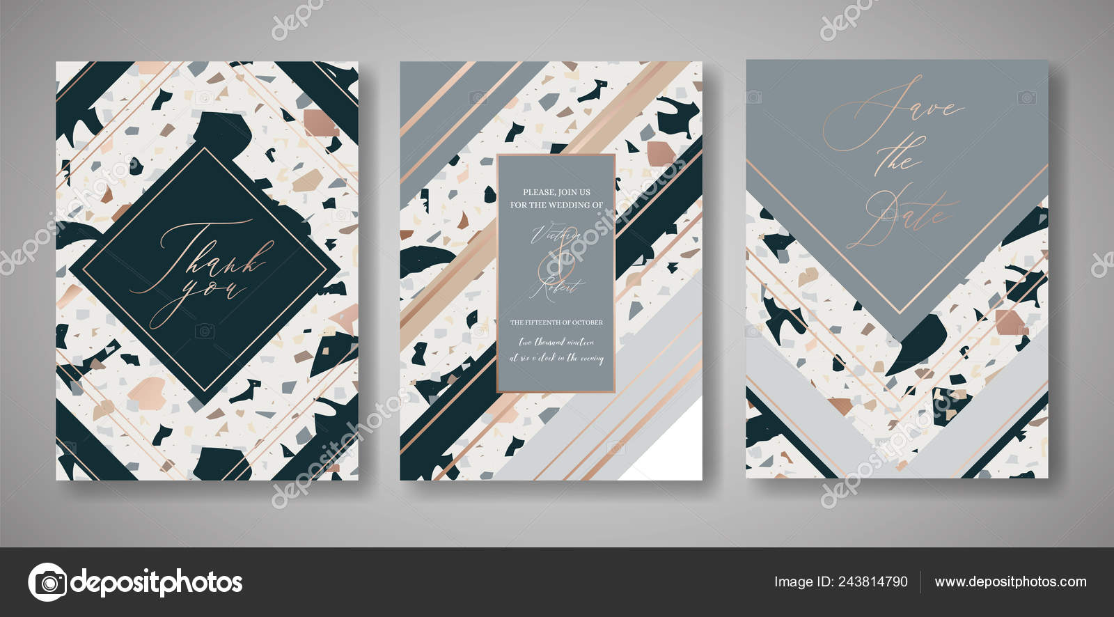 Terrazzo Wedding Invitation Card Set Luxury Geometric Design