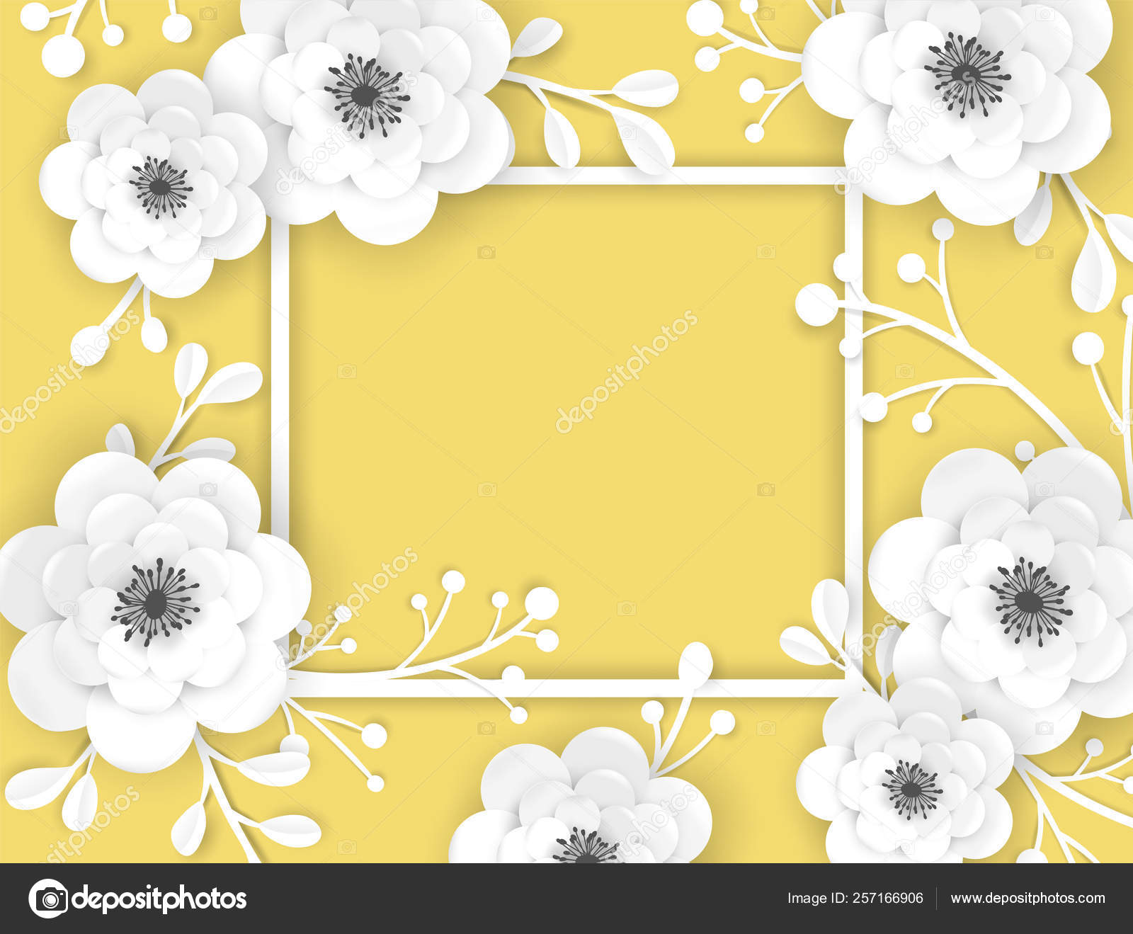 Paper Cut Flowers Frame Greeting Card Template Decorative Design ... | 1319x1600