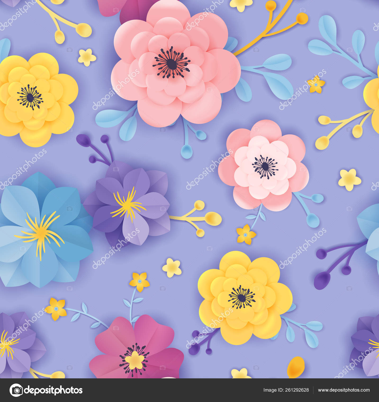 Paper Cut Floral Seamless Pattern Spring Origami Flowers