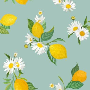 """Картина, постер, плакат, фотообои """"бесшовный рисунок лимона с тропическими фруктами, листьями, цветочным фоном. векторная иллюстрация в стиле акварели для летней романтической обложки, тропические обои, винтажная текстура """", артикул 267363158"""
