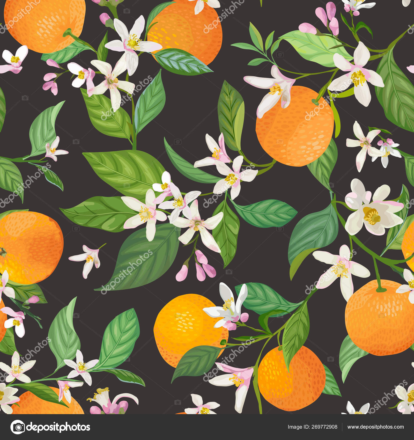 depositphotos 269772908 stock illustration seamless orange pattern with tropic
