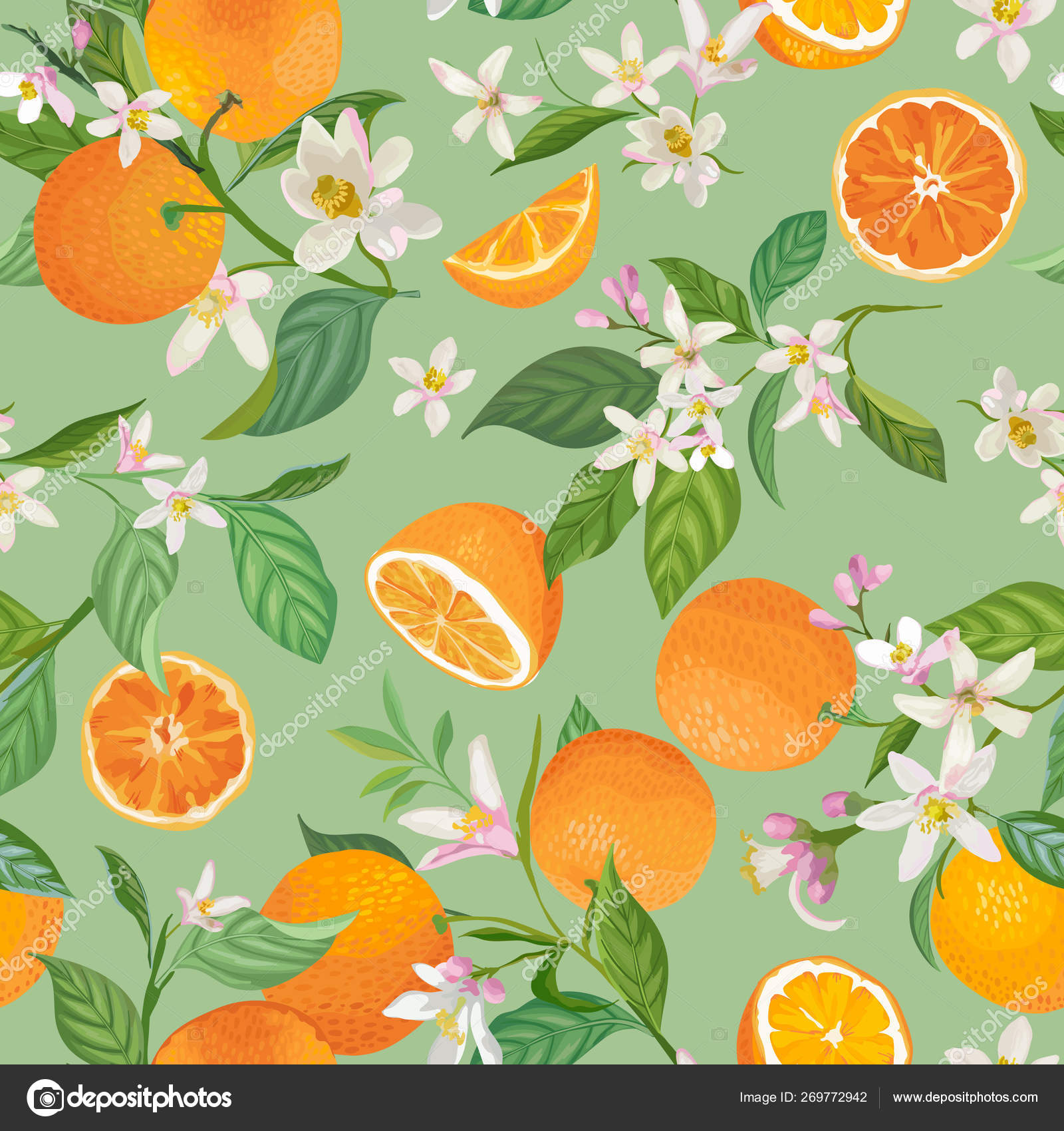 depositphotos 269772942 stock illustration seamless orange pattern with tropic