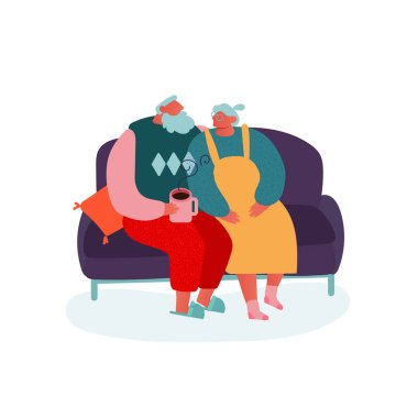 Christmas Season and Winter Family celebration, Grandma and Grandpa sitting on a couch. People Character Celebrating New Year Eve. Merry Xmas Holiday Party. Vector illustration.