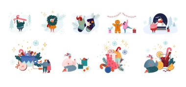 Set of Male and Female Characters Celebrate Christmas, New Year and Xmas Winter Holidays. Tiny People with Huge Sweets