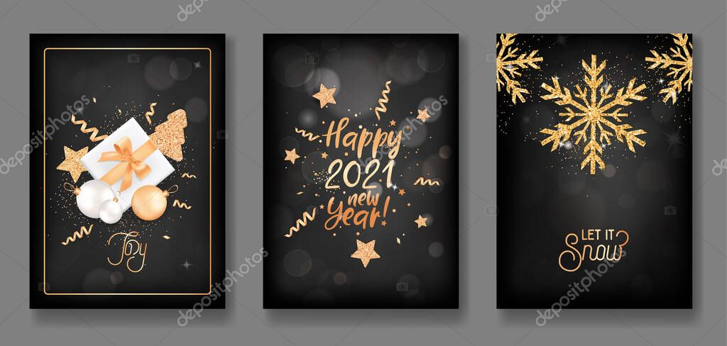 Set Of Merry Christmas And Happy New Year 2021 Posters Invitation Or Cover Design With Gold Xmas Balls Gifts Glitter Confetti Stars And Snowflakes Elegant Greeting Cards Vector Illustration Premium Vector