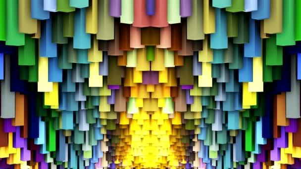 a képernyőn a színes négyzetek tánc
