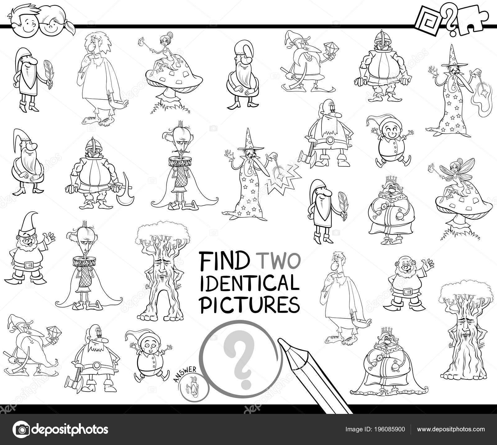 Ilustración Dibujos Animados Blanco Negro Encontrar Dos Cuadros ...