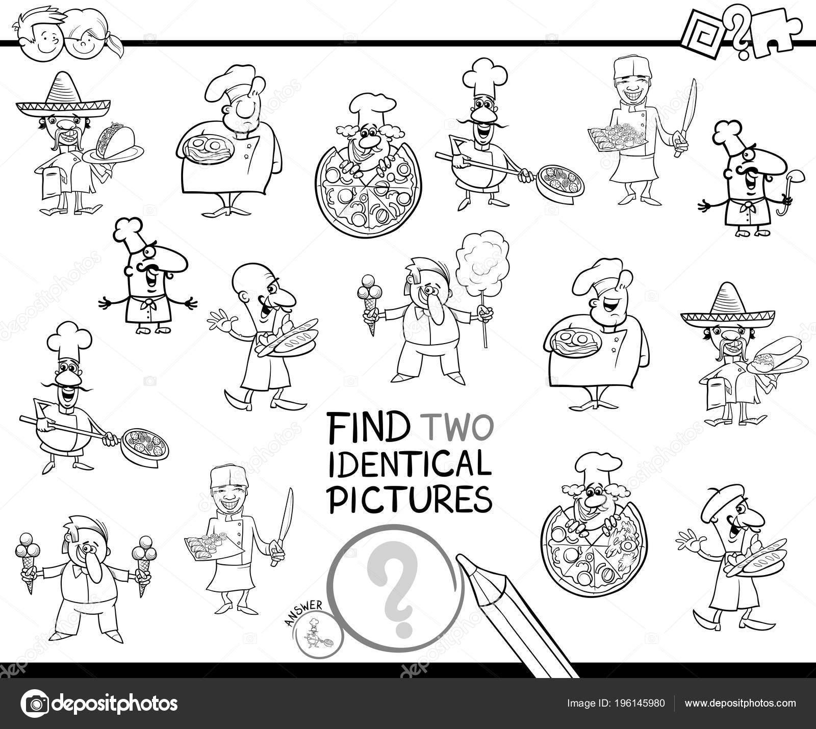 Ilustración Dibujos Animados Blanco Negro Encontrar Dos Fotos ...