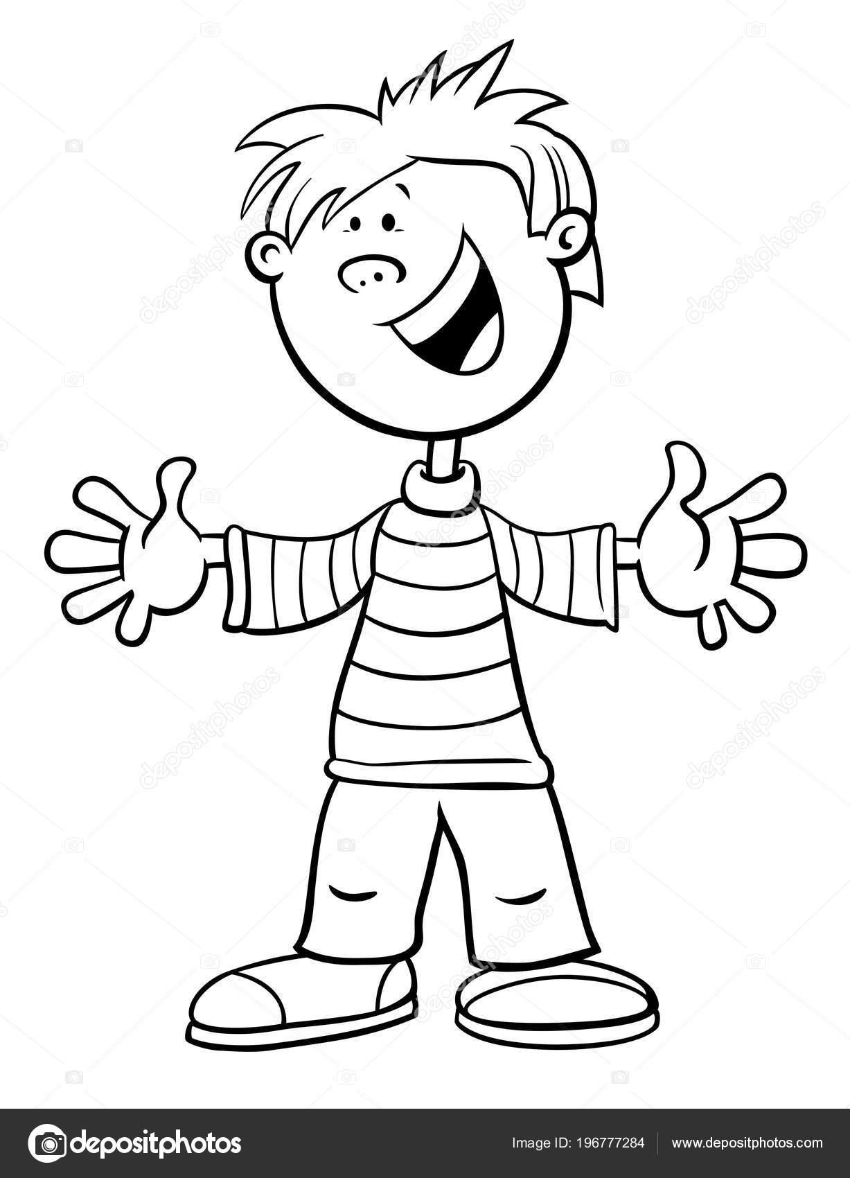 Ilustración Dibujos Animados Blanco Negro Edad Escolar Primaria Niño