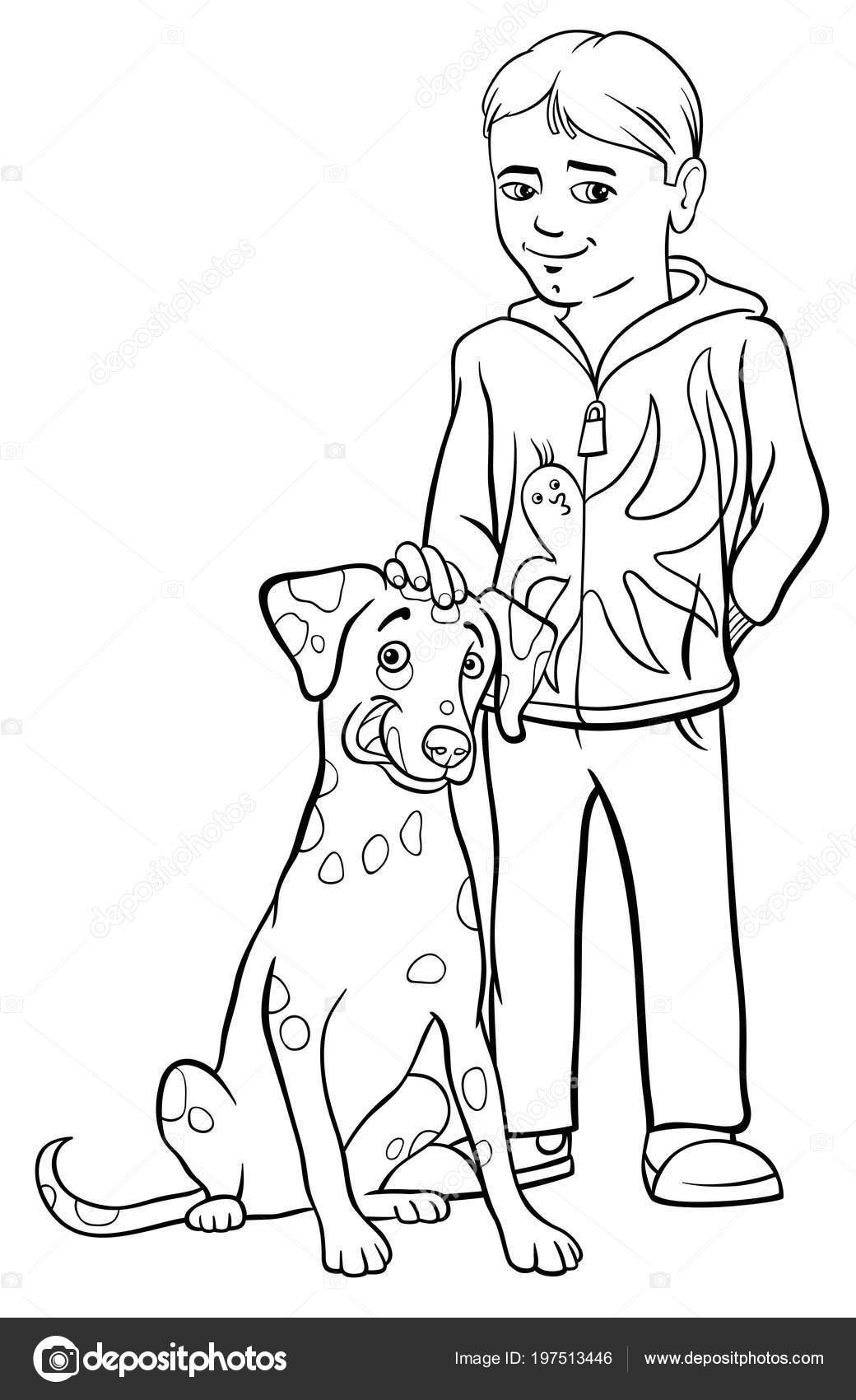 Ilustración Dibujos Animados Blanco Negro Niño Chico Con Perro ...