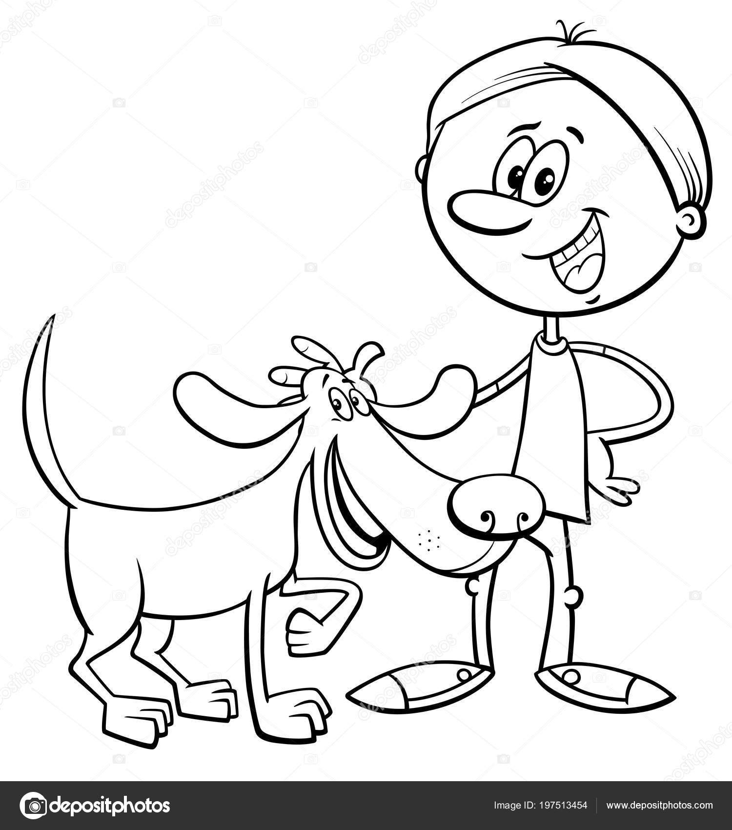 Black White Cartoon Illustration Boy Funny Dog Puppy Coloring Book ...