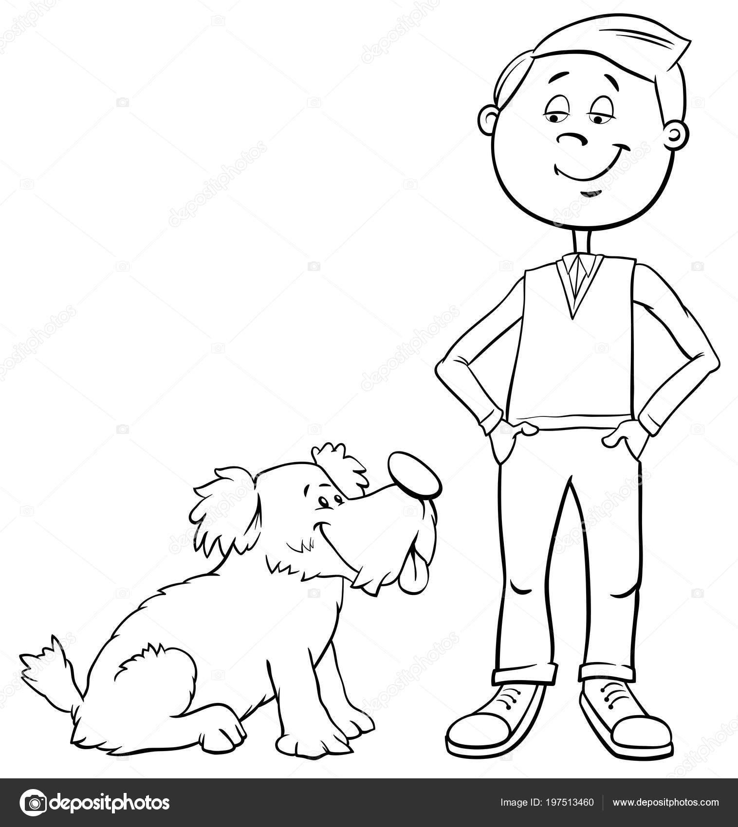 かわいい犬や子犬の塗り絵子供男の子の白黒漫画イラスト ストック