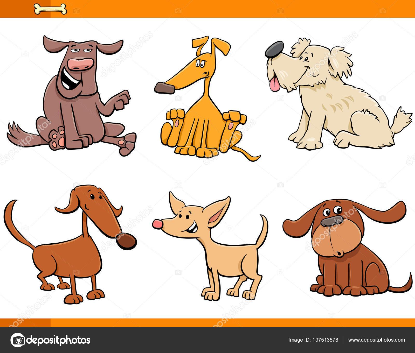 Cartoon Illustration Der Lustige Comic Hunde Oder Welpen Tier ...