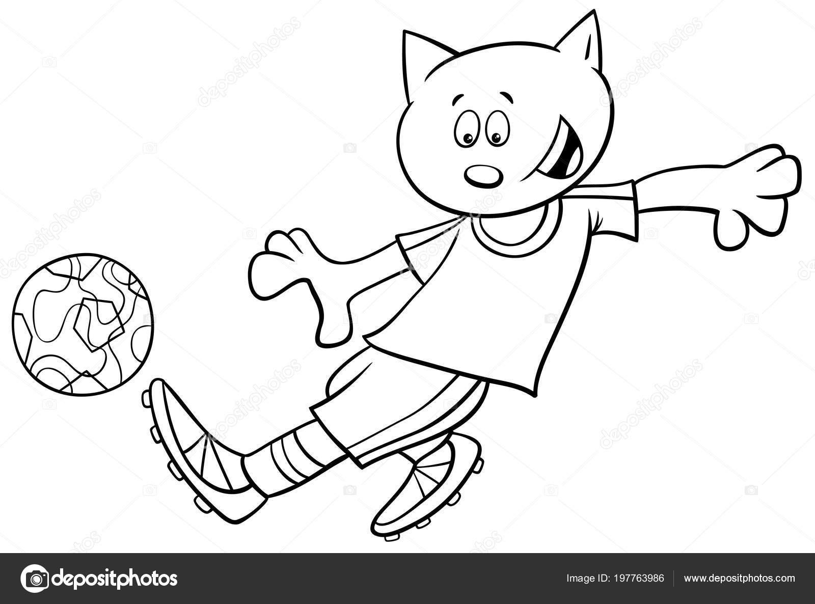Schwarz Weiss Cartoon Illustrationen Katze Fussball Oder