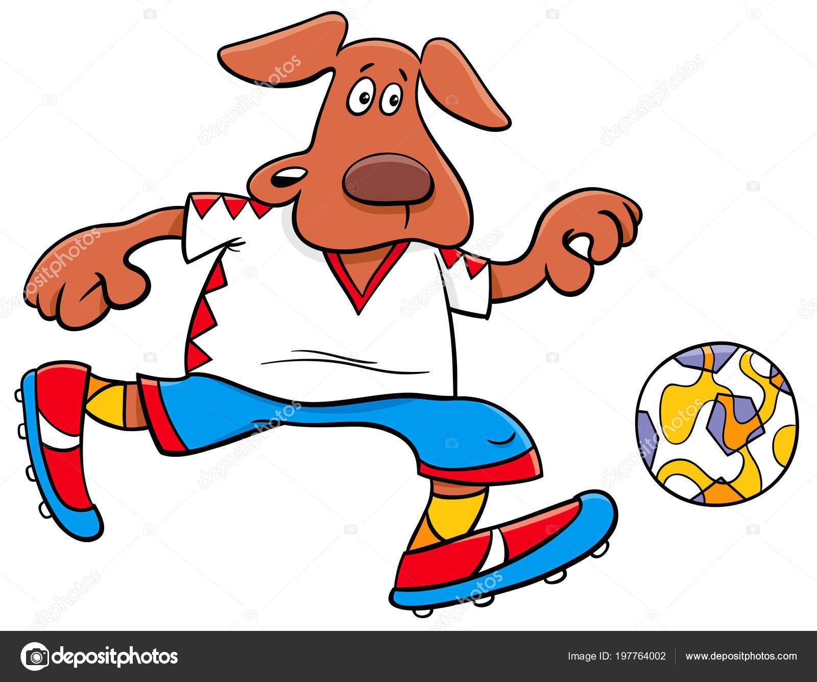 Cartoon Illustrationen Hund Fussball Oder Fussball Spieler