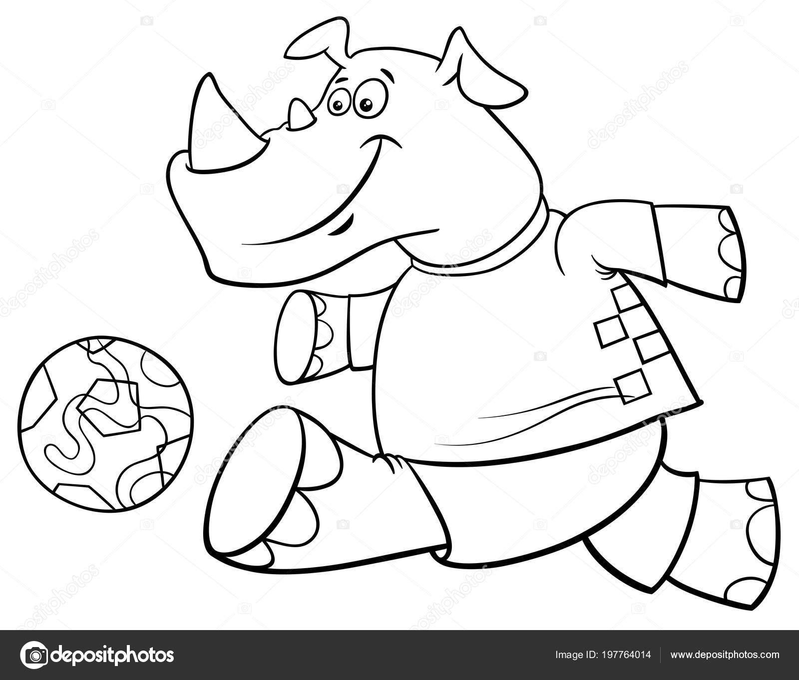 Schwarz Weiss Cartoon Illustrationen Von Rhino Fussball Oder