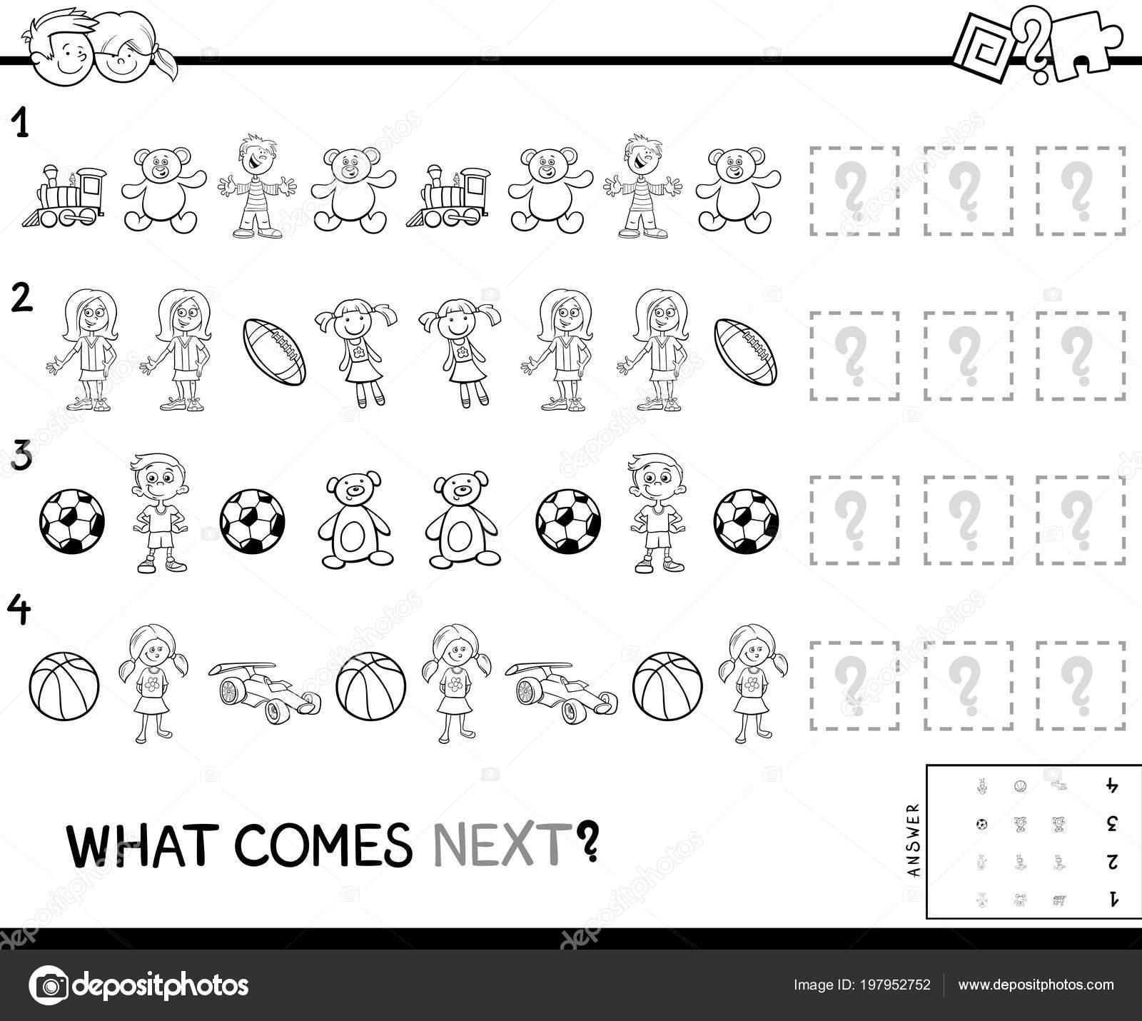Ilustracion Dibujos Animados Blanco Negro Completar Patron Juego